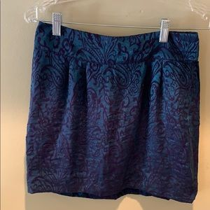 Beautiful purple and teal jacquard mini skirt